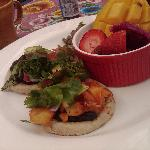 Day 1 Breakfast-- Vegan Sopes with fruit and Cactus salad
