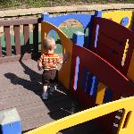 The toddler height maze in the tot lot.