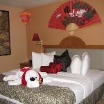 """A friendly pup welcomed us to the """"Oriental room""""."""