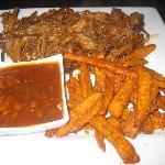 Pork, Sweet Potato Fries, BBQ Beans