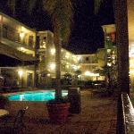courtyard pool area at night