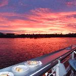 The fiery sky as seen from the ferry