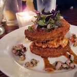 Fried green tomato and crawfish