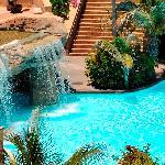 Heated sweet water pool with waterfalls