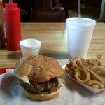 A 1/2 pound P.O.'s burger with Texas Toothpicks