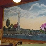 A big wall painting of something in Ogdensburg