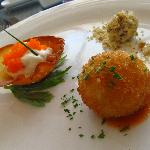 Amuse Bouches: Coupe of Salmon Tartare & Red Onion Creme Fraiche. Grape wrapped in Malagos Blue