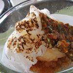 Creme Cuite, Burnt Meringue, Pistachio Brittle and Espresso Granita