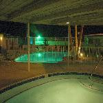 Mineral water pools at night