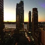 View of the sunset over the Hudson River