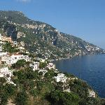View from our room down towards the sea and main area of positano.