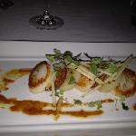 scallop with chorizo and reef sauce - delicious