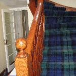 Entryway and the lovely tartan carpet!