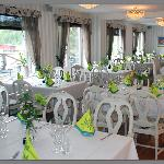 Restaurants dining area in spring colors
