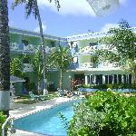 The pool looking toward reception
