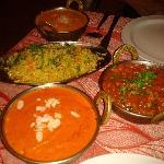 chicken tikka masala, shrimp korma, vegetable madras...