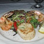 Blackened shrimp and sea scallops