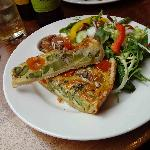 Quiche with asparagus, broccoli and local blue cheese.