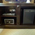 DVD player, safe box, and minibar