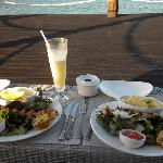 Delicious meal of prawns and swordfish at the Jetty!