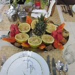 Tropical fruits at breakfast