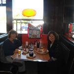 My sister and I eating at Pop's diner