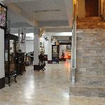 hotel lobby with stairs to rooms