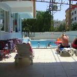 view from shaded area of pool