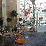Part of the garden in front of the reception/ Parte do jardim em frente à recepção/ Una parte de
