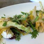 zucchini flower, asparagus, goats cheese & artichoke salad YUM