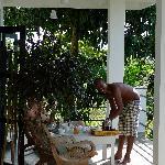 Morning coffee on the verandah.