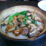 Chicken and mushrooms in a clay pot