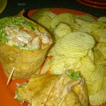 My seafood wrap--looks better than it was.