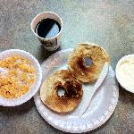 Breakfast---   Bagels, Creamcheese,Coffee,Corn Flakes