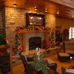The fireplace setting added a cozy touch to the winery.