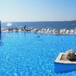 A bit of a squished panorama of the pool and swim-up bar, but you get the idea!  Loved it!