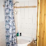 Der Duschvorhang im Bad erinnerte uns an unseren Italienurlaub Anfang der 90'ger Jahre