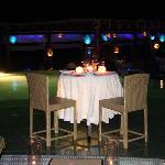 Restaurant dinner in the pool....