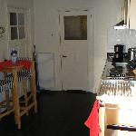 View of kitchen and eating space.