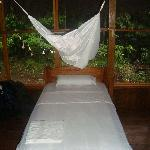 One of the beds in the Eco-lodge