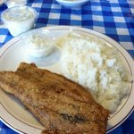 fried mullet, grits, Cole slaw