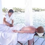 enjoying a carribean  massage