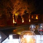 our private romantic dinner with our firepit by the pool
