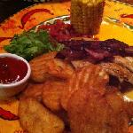 whiskey chicken, bacon, wedges