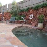 lovely patio with cold and hot pools