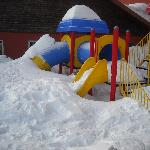 Playground covered with snow