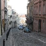 Street shot with restuarant on left - loved the vintage Volkswagon!