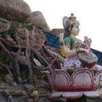 Sri Vidya Saraswathi Shani Temple, Wargal, a garden with a depiction of the Goddess