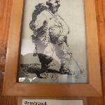 Rembrandt adorns the toilet door