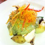 fresh catch of the day with spinach lava sauce
